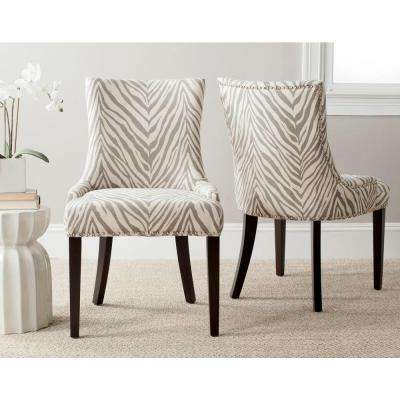 Lester Grey Zebra Cotton/Linen Dining Chair (Set of 2)