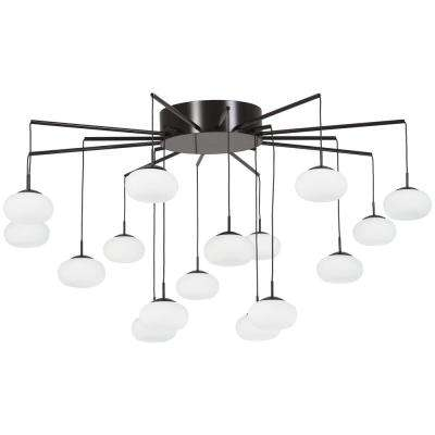George's Web 33.5 in. 150-Watt Equivalence Bronze with Gold Dust Integrated LED Flush Mount