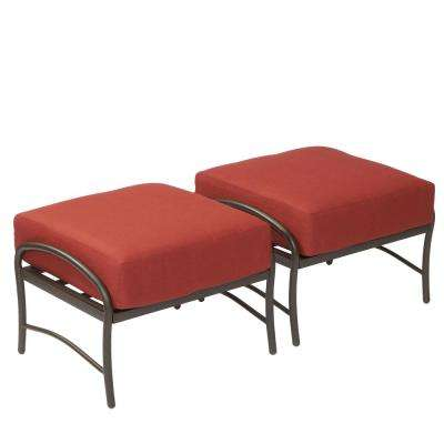Oak Cliff Metal Outdoor Ottoman with Chili Cushion (2-Pack)