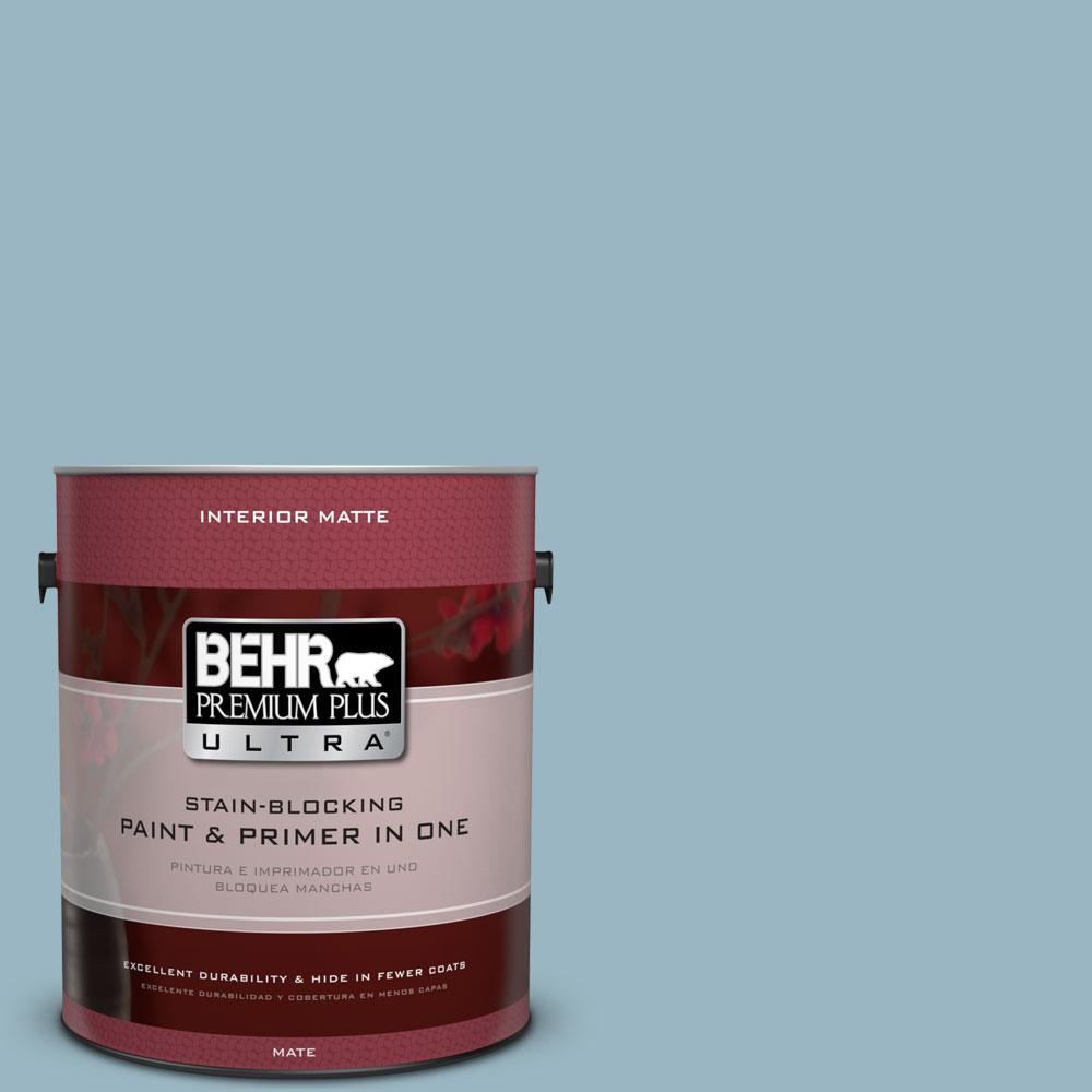 BEHR Premium Plus Ultra 1 gal. #S470-3 Peaceful Blue Matte Interior Paint