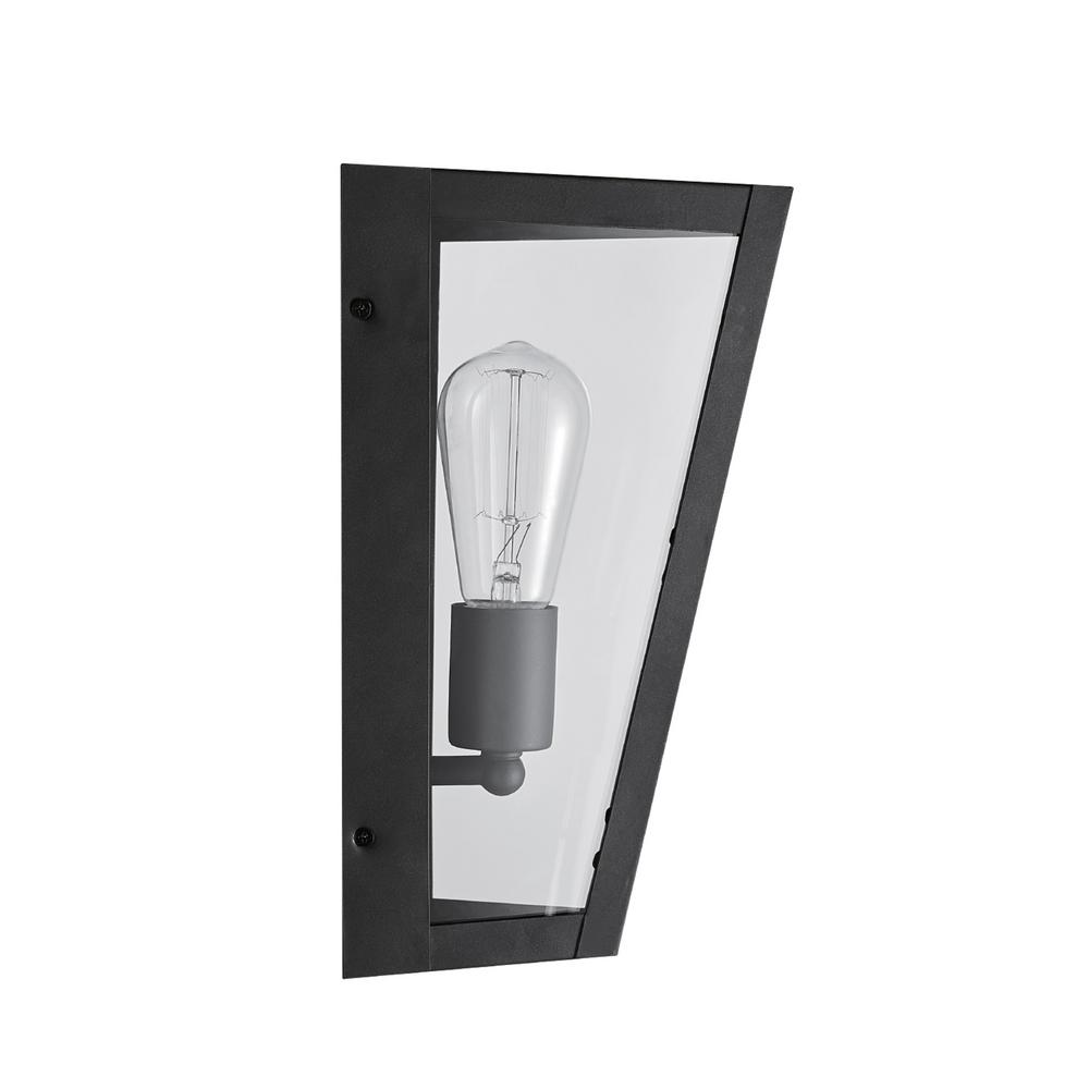 Crowley 1-Light Bronze Outdoor Indoor Wall Lantern Sconce with Clear Glass Panes