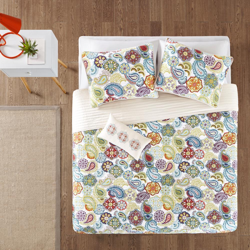 Mi Zone Asha 4-Piece Multi-Colored King/California King Print Coverlet Quilt Set