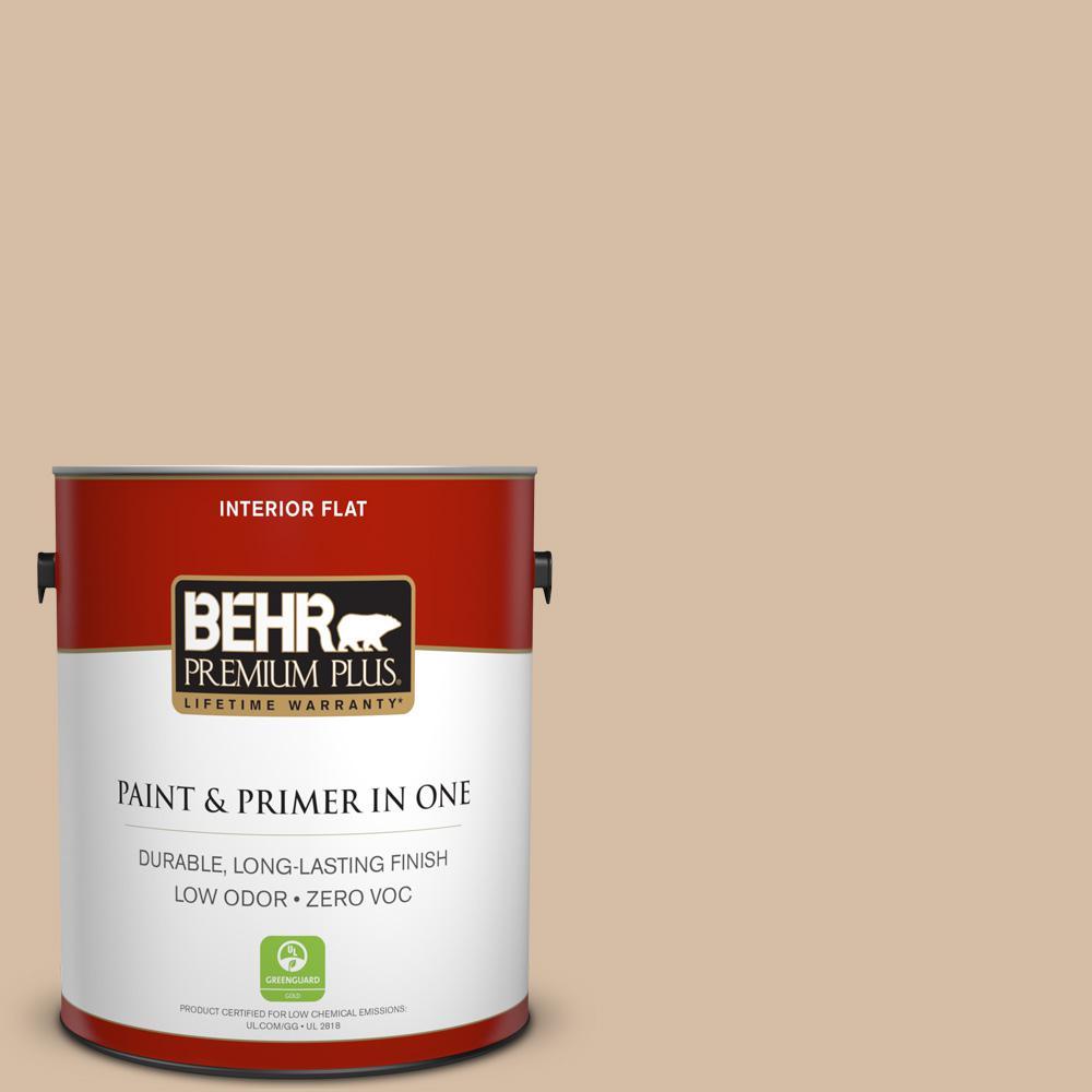 BEHR Premium Plus Home Decorators Collection 1-gal. #HDC-MD-12 Tiramisu Cream Zero VOC Flat Interior Paint