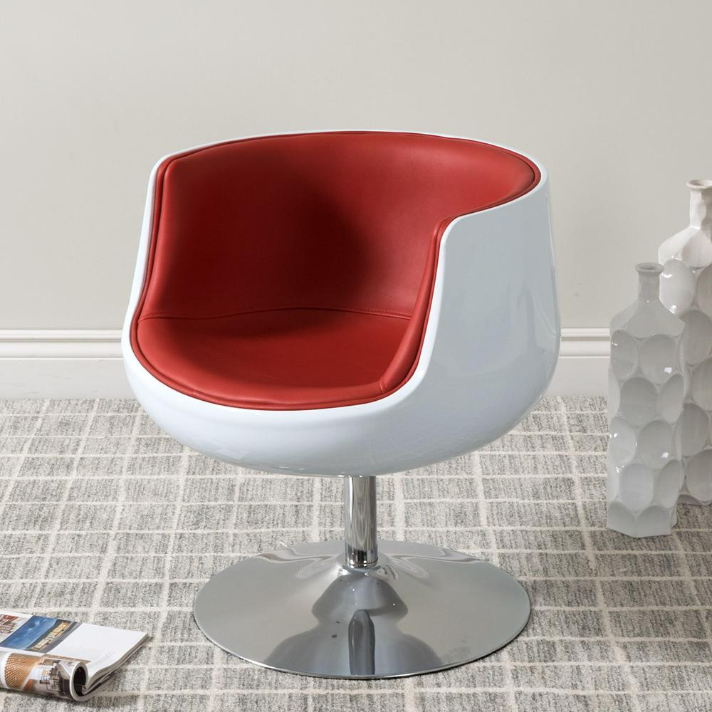 CorLiving Mod Modern Red And White Bonded Leather Swivel Barrel Chair