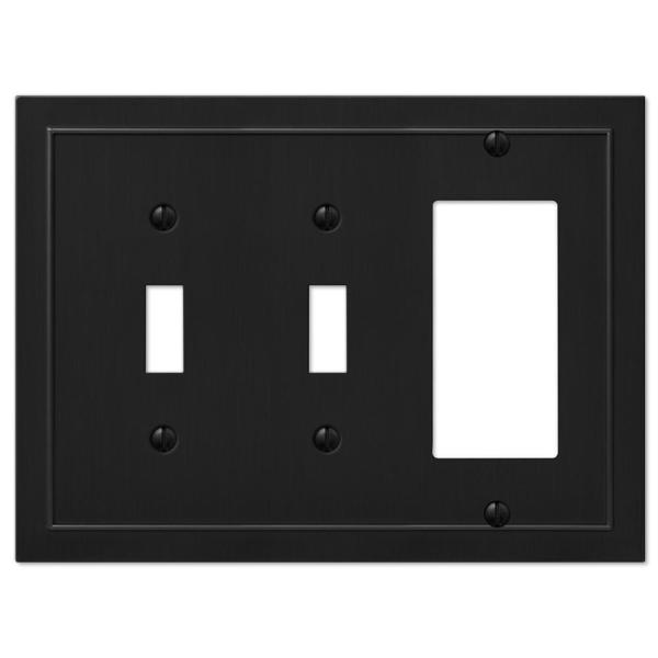 Bethany 3 Gang 2-Toggle and 1-Rocker Metal Wall Plate - Black