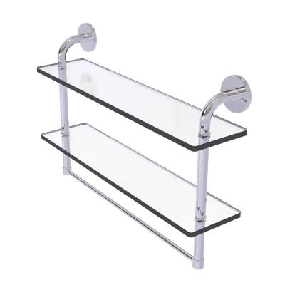 Remi Collection 22 in. 2-Tiered Glass Shelf with Integrated Towel Bar in Polished Chrome