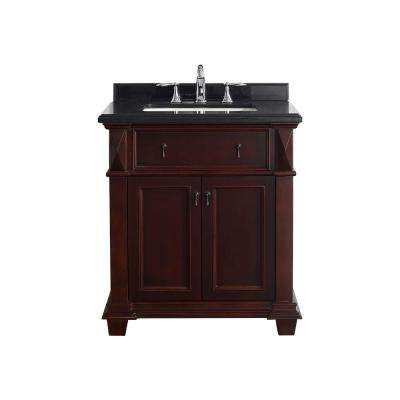 Kathy 30 in. W x 22 in. D Vanity in Chocolate with Granite Vanity Top in Black with White Basin