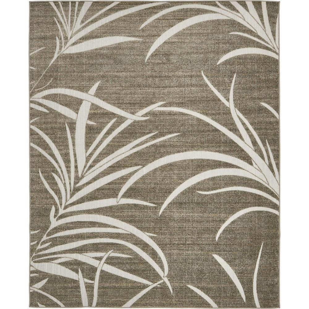 Unique Loom Outdoor Botanical Brown 8 X 10 Rug 3132469