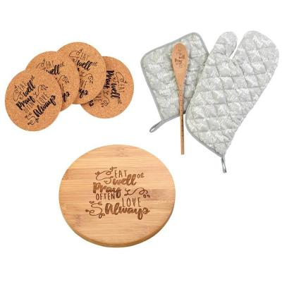 Bamboo Trivet, Cork Coasters Set, Oven Mitt, Pot Holder and Spoon (8-Piece)