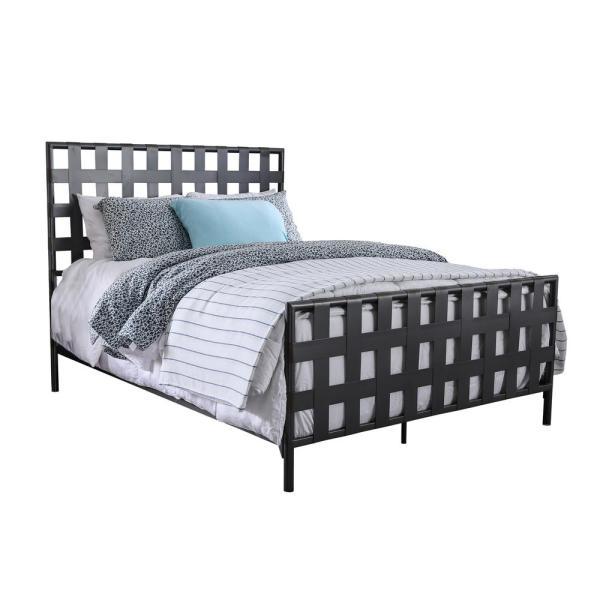Furniture of America Shona Gray Queen Lattice Bed IDF-7758Q