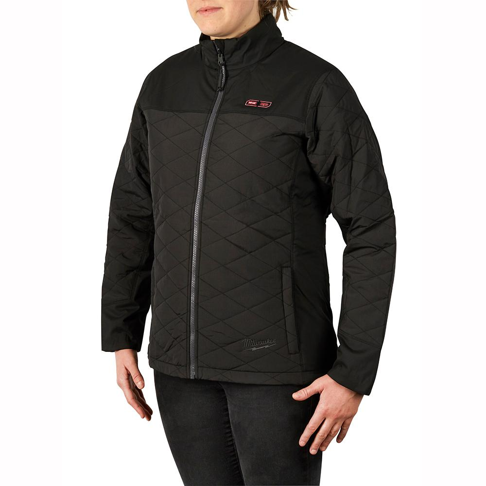 Women's Small M12 12-Volt Lithium-Ion Cordless AXIS Black Heated Quilted Jacket