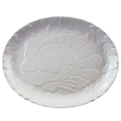 White Plastic Traditional Holiday Serving Platter