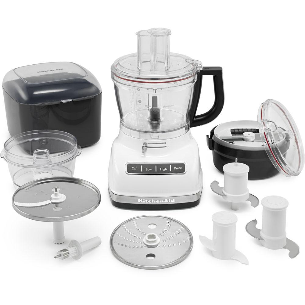 ExactSlice Food Processor, White This 14-cup food processor from KitchenAid features the first, residential, hands-free, commercial-style dicing kit and ExactSlice system to slice from thick to thin with one slide of the lever. These features enable you to prep your food safely and efficiently. The UltraTight seal features a specially designed locking system with leak-resistant ring that allows you to fill the work bowl to capacity with ingredients without worrying about making a mess. Slice, dice, shred, knead, and chop with ease so you can enjoy your meal in no time. Color: White.