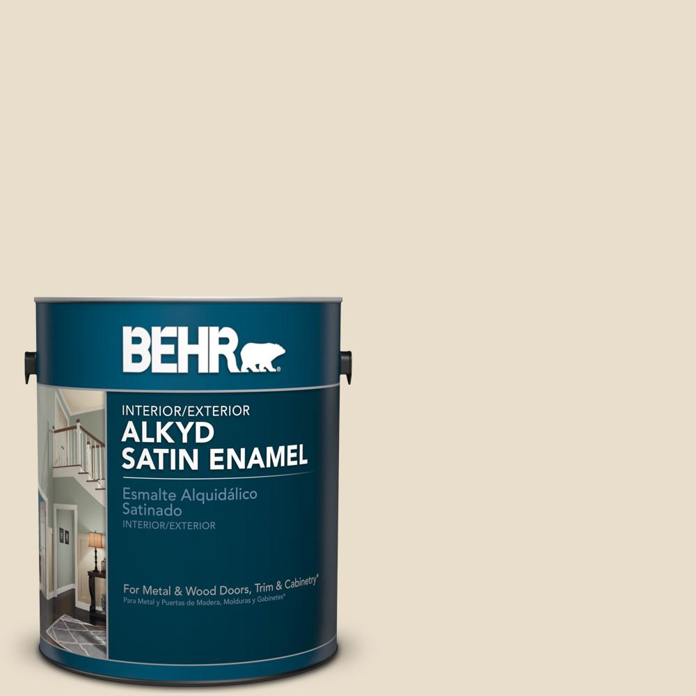 1 gal. #AE-130 Antique White Satin Enamel Alkyd Interior/Exterior Paint