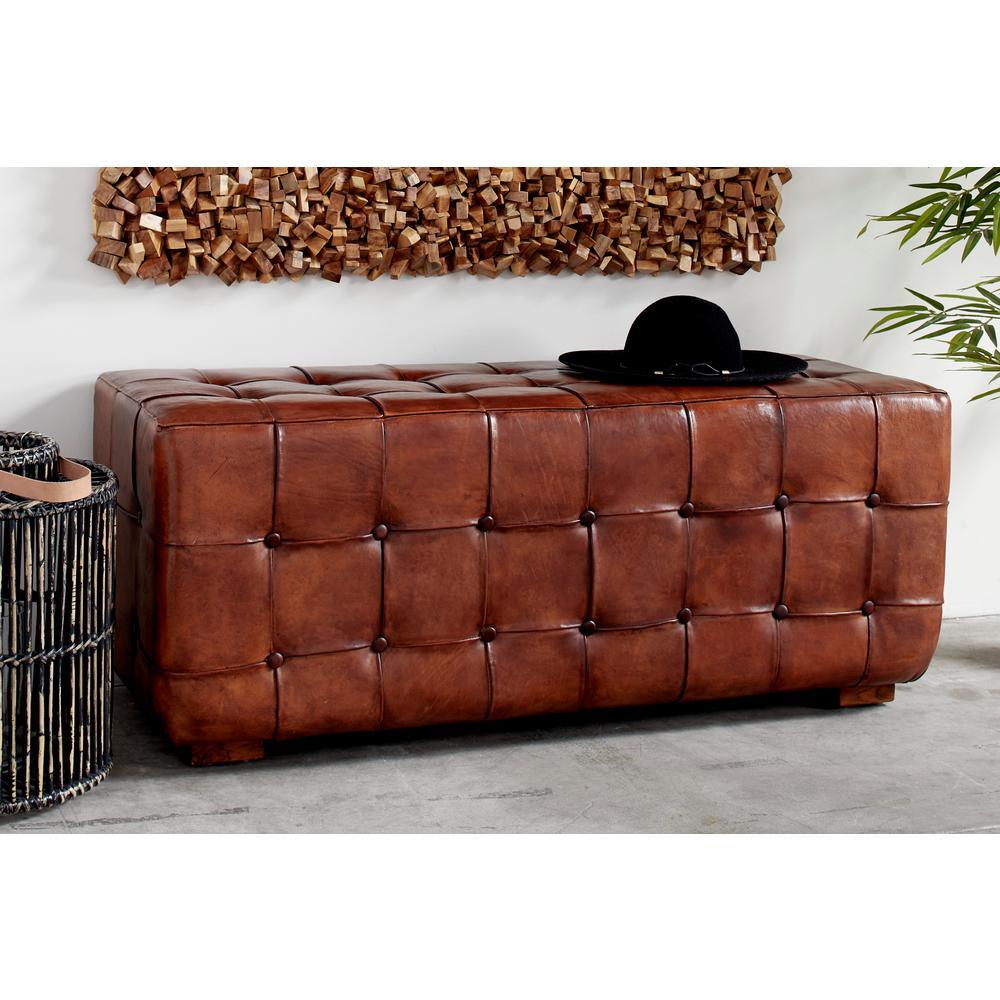 Phenomenal Litton Lane Large Golden Brown Top Grain Leather Tufted Theyellowbook Wood Chair Design Ideas Theyellowbookinfo