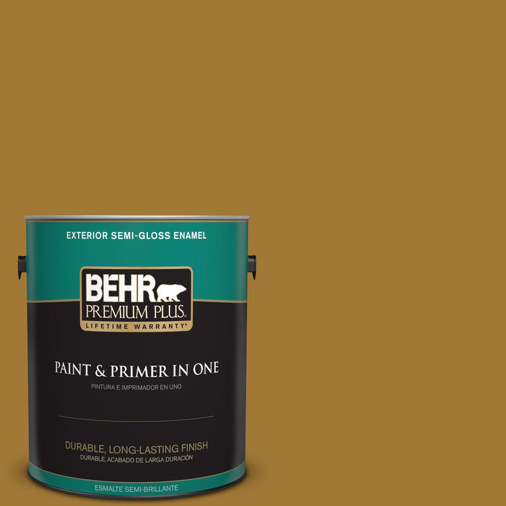 BEHR Premium Plus 1-gal. #320D-7 Victorian Gold Semi-Gloss Enamel Exterior Paint