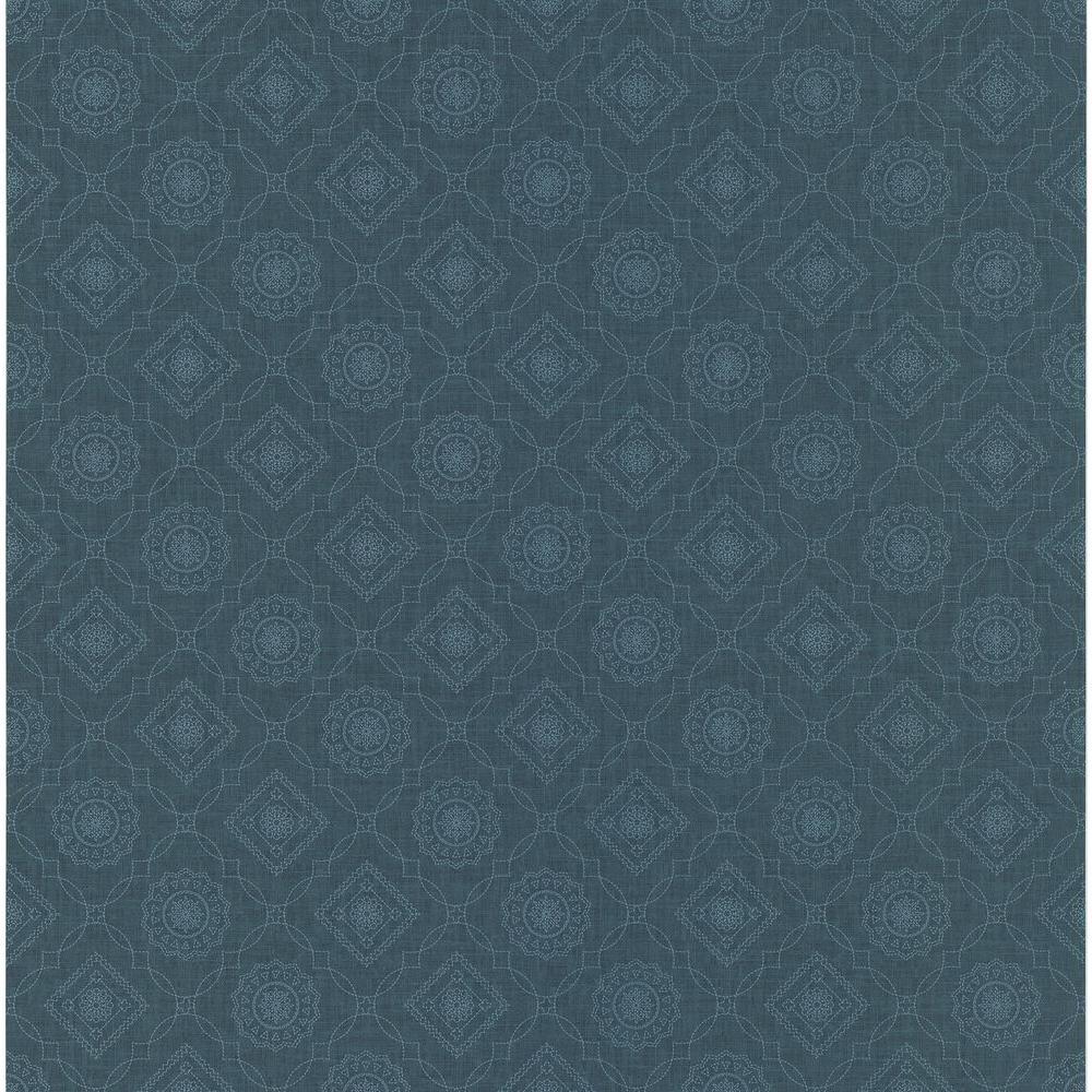 Northwoods Lodge Blue Bandana Print Wallpaper Sample