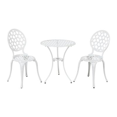 Josie White Outdoor Aluminum 3-Piece Patio Bistro Set with Umbrella Hole