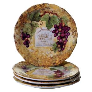 Gilded Wine 10.75 in. Multi-Colored Dinner Plate (Set of 4)