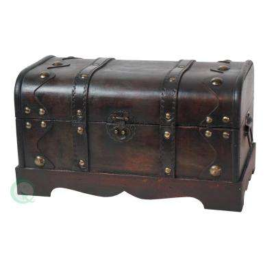 10 in. x 8 in. x 12 in. Small Pirate Style Wooden Treasure Chest