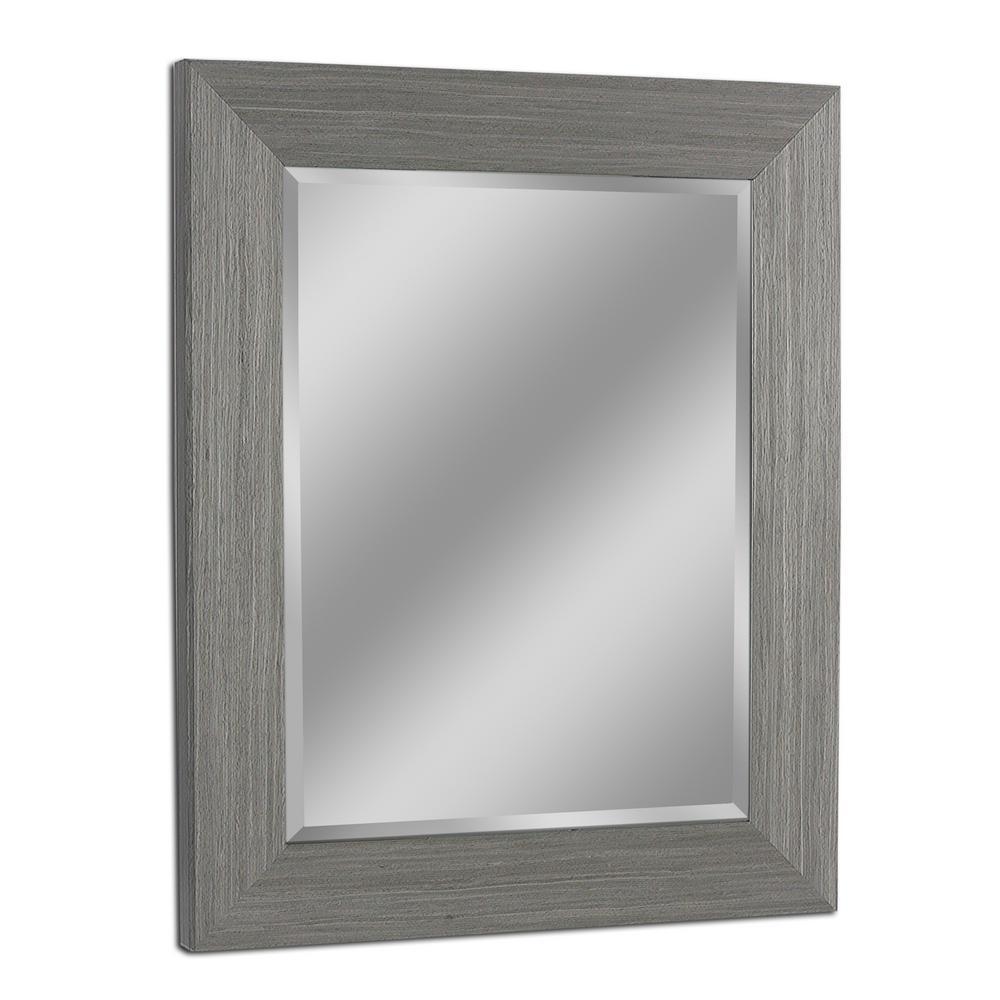 29 in. W x 35 in. H Rustic Box Driftwood Wall Mirror in Light Grey