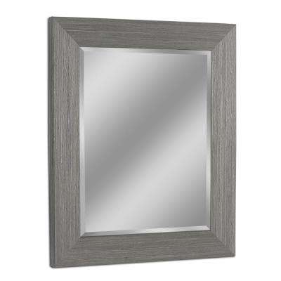 29 in. W x 35 in. H Rustic Box Driftwood Wall Mirror in Light Grey