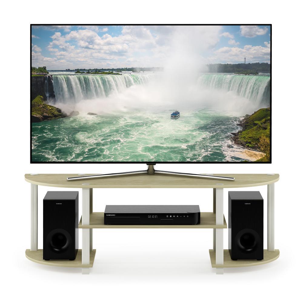 Turn-S-Tube Cream Marble/White Wide TV Entertainment Center