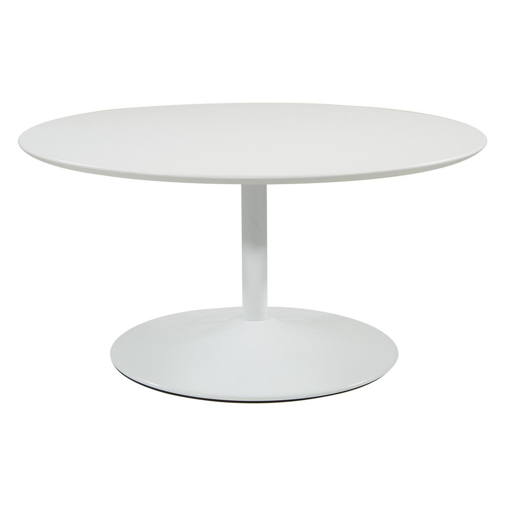 OSP Home Furnishings Flower 36 in. White Medium Round Wood Coffee Table, White/White OSP Home Furnishings Flower 36 in. White Medium Round Wood Coffee Table, White/White.