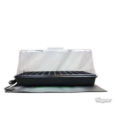 11 in. x 22 in. Tall Clear Plastic Dome Single Tray Kit with Standard Flat, 72 Cell Insert and Heat Mat