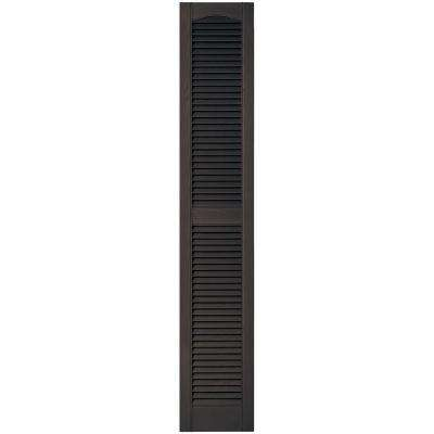 12 in. x 67 in. Louvered Vinyl Exterior Shutters Pair in #010 Musket Brown