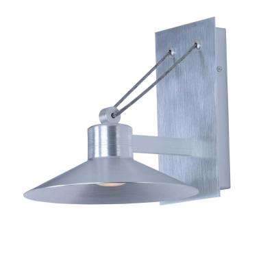 Civic 1-Light Brushed Aluminum Integrated LED Outdoor Wall Lantern Sconce