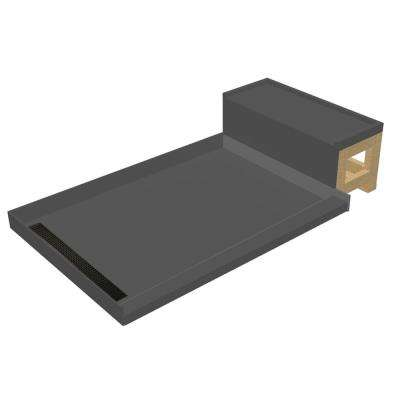 34 in. x 60 in. Single Threshold Shower Base in Gray and Bench Kit with Left Drain and Oil Rubbed Bronze Trench Grate