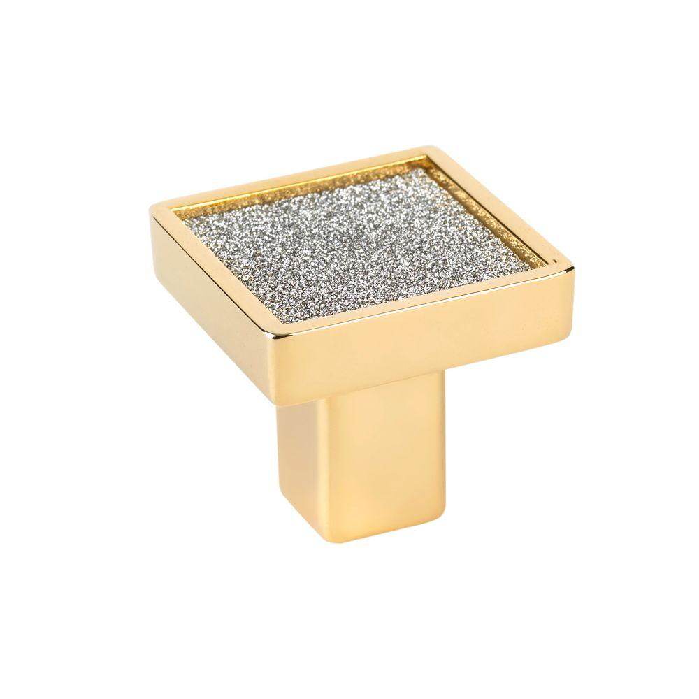 Crystal Collection 1 in. Gold and Sparkling Crystal Elements Square Knob