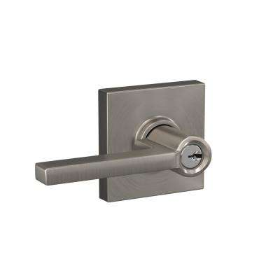 Custom Latitude Satin Nickel Collins Trim Keyed Entry Door Lever
