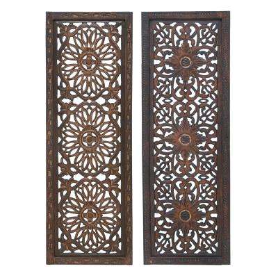 Floral Hand Carved Brown Wooden Wall Panels, Assortment of Two