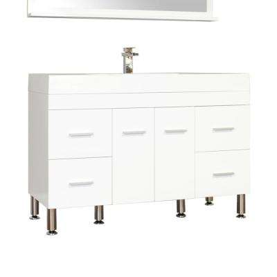Ripley 47 in. W x 19.5 in. D x 33.12 in. H Vanity in White with Acrylic Vanity Top in White with White Basin