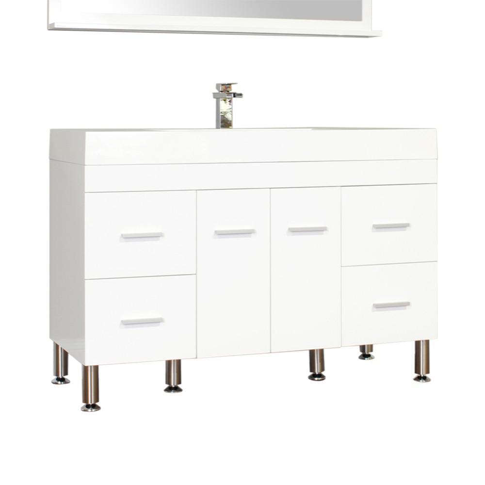 Ripley 47 in. W x 19.5 in. D x 33.12 in. H Vanity in White with Acrylic Vanity Top in White with White Basin