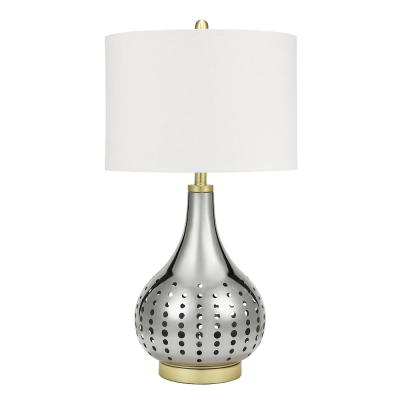 Cresswell 30 in. Brushed Nickel and Brass Accents Mid Century Modern Pierced Table Lamp and LED Bulb
