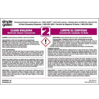 Clean Building Bathroom Cleaner Secondary Label (10-Pack)