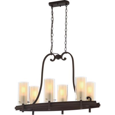 Regina 6-Light Antique Bronze Indoor Hanging Linear Island Chandelier, Outer Clear and Inner Amber Glass Cylinder Shades
