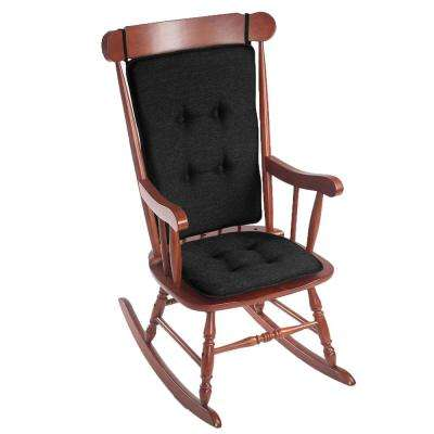 Gripper Embrace Black Tufted Rocking Chair Cushion Set
