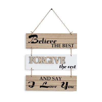 Inspirational Believe the Best, Forgive the Rest and Say I Love You Sectioned Wall Plaque Sign