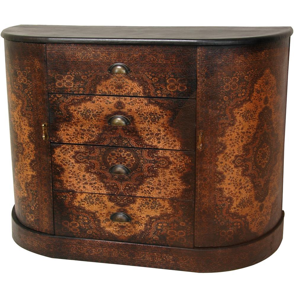Oriental Furniture Antique Brown Olde-Worlde European Credenza Cabinet