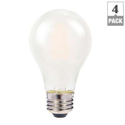 60W Equivalent Frosted Warm White A19 Dimmable Shatter-Resistant LED Light Bulb (4-Pack)