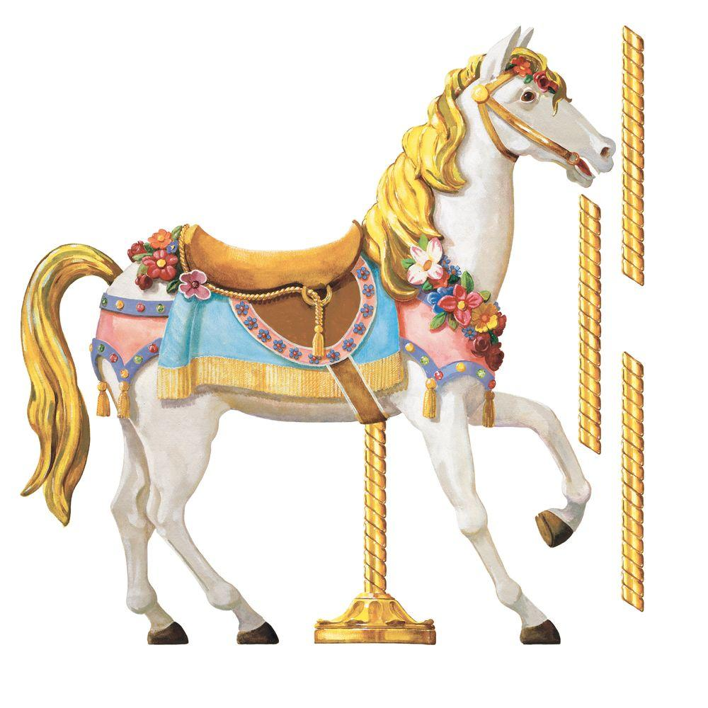 null 27 in. x 40 in. Carousel Horse 21-Piece Peel and Stick Giant Wall Decals