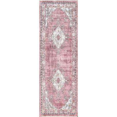 Vintage Debra Medallion Fringe Pink 2 ft. 6 in. x 8 ft. Runner Rug
