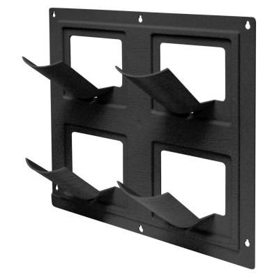 WallFlowers 17 in. Square Resin Living Wall Hanging Flower Planter in Black (4-Pot)