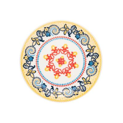 7.87 in. Floreal Orange and Yellow Salad Plates (Set of 6)