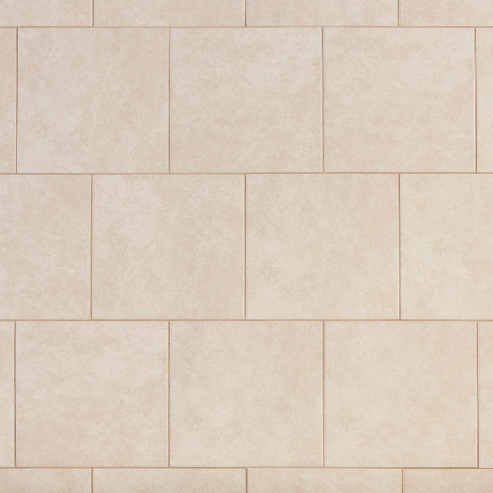. TrafficMASTER Laguna Bay Cream 12 in  x 12 in  Ceramic Floor and Wall Tile   15 sq  ft    case