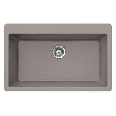Drop-in Quartz 33 in. 1-Hole Topmount Large Single Bowl Kitchen Sink in Taupe